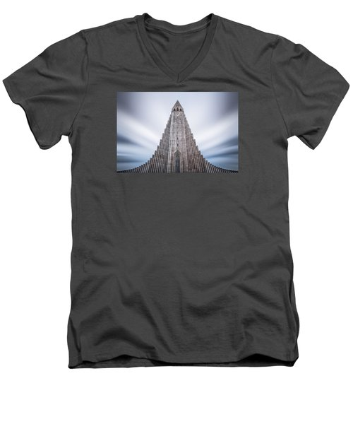 Hallgrimskirkja Cathedral Men's V-Neck T-Shirt by Brad Grove