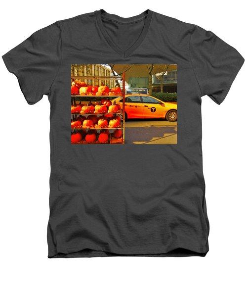 Halloween In New York  Men's V-Neck T-Shirt by Funkpix Photo Hunter