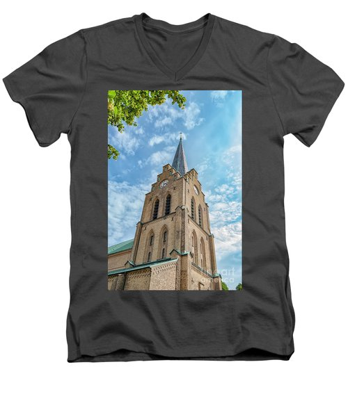 Men's V-Neck T-Shirt featuring the photograph Halmstad Church In Sweden by Antony McAulay