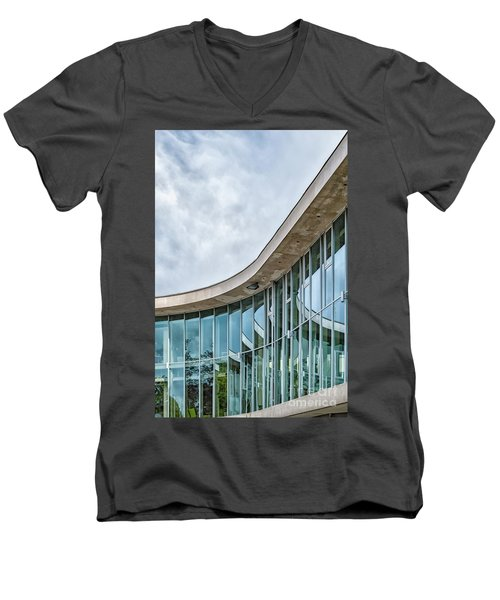 Men's V-Neck T-Shirt featuring the photograph Halmstad University Labrary Detail by Antony McAulay