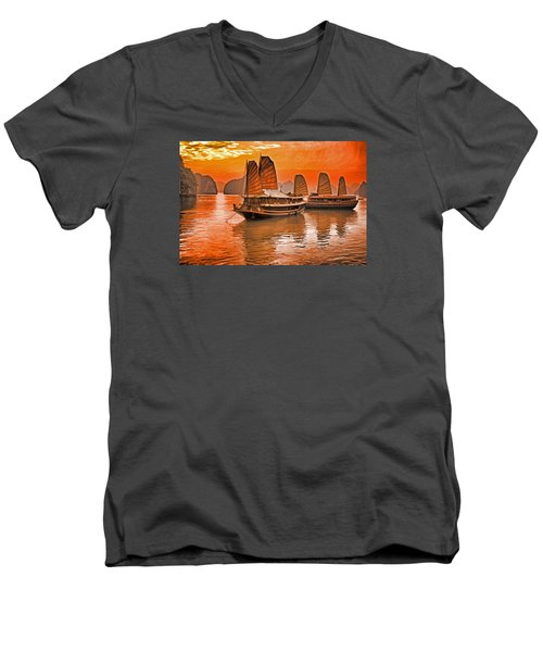 Halong Bay Junks Men's V-Neck T-Shirt by Dennis Cox WorldViews