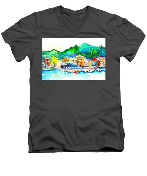 Halycon Days At The Blue Water Men's V-Neck T-Shirt