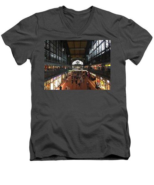 Hamburg Germany Trainstation Men's V-Neck T-Shirt