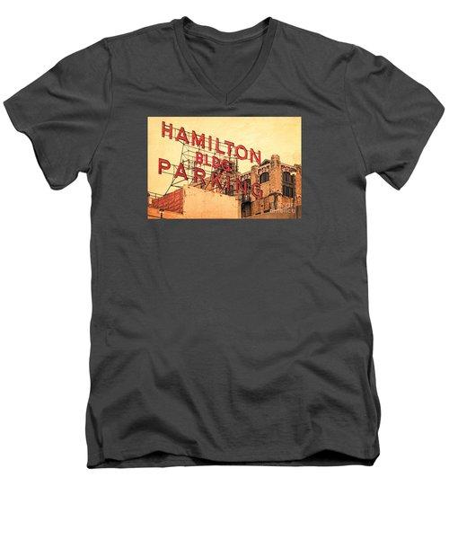 Hamilton Bldg Parking Sign Men's V-Neck T-Shirt