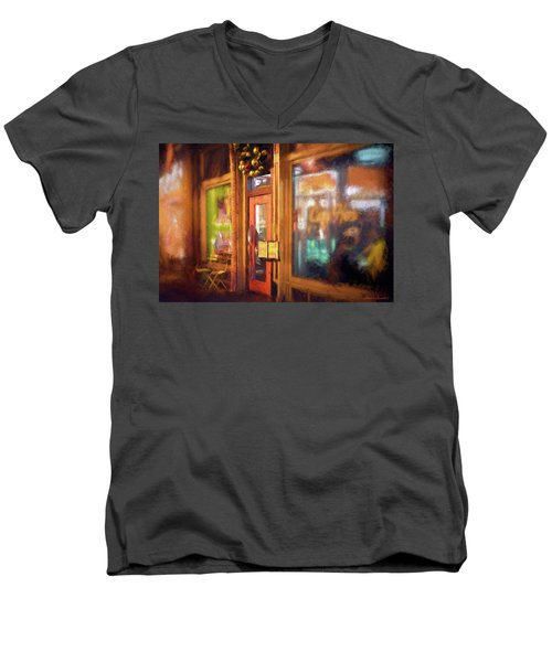 Hampden Cafe Men's V-Neck T-Shirt by Glenn Gemmell