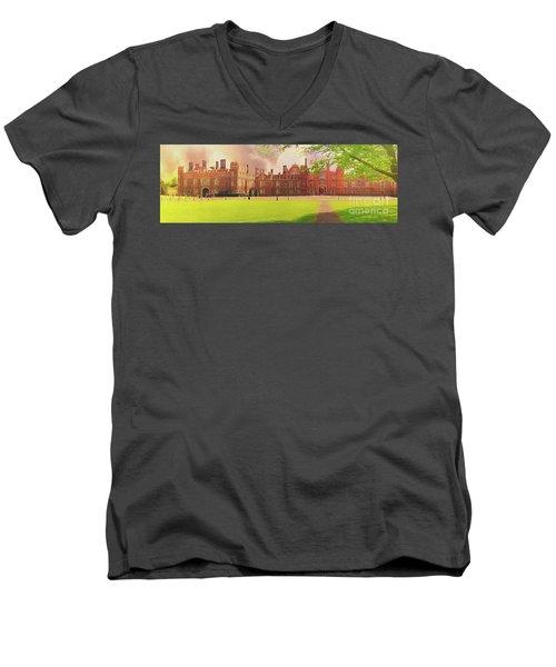 Hampton Court Palace Panorama Men's V-Neck T-Shirt