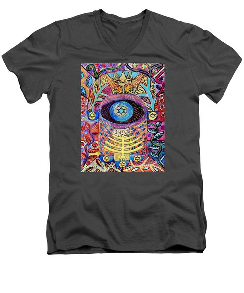 -hamsa Menorah Tree Of Life - Bright Lights  Men's V-Neck T-Shirt by Sandra Silberzweig