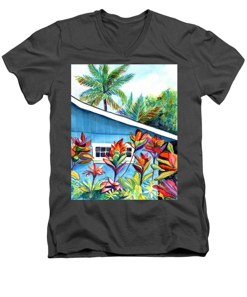 Men's V-Neck T-Shirt featuring the painting Hanalei Cottage by Marionette Taboniar