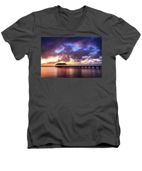 Hanalei Pier Men's V-Neck T-Shirt by James Eddy