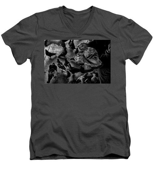 Hand Feeding Men's V-Neck T-Shirt by James David Phenicie