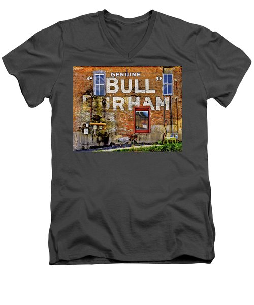 Men's V-Neck T-Shirt featuring the photograph Handpainted Sign On Brick Wall by David and Carol Kelly