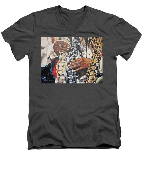 Blaa Kattproduksjoner        Hands Of Music - 2 Men's V-Neck T-Shirt