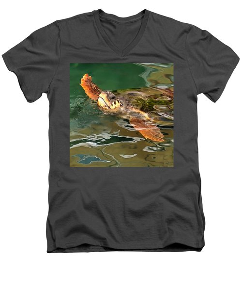 Hands Up For A Plastic Free Ocean Loggerhead Turtle Men's V-Neck T-Shirt