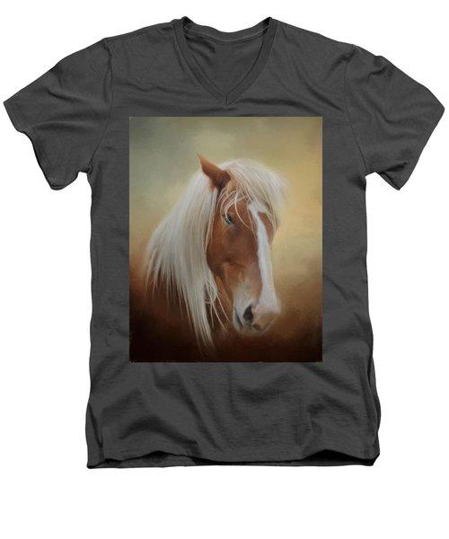 Handsome Belgian Horse Men's V-Neck T-Shirt