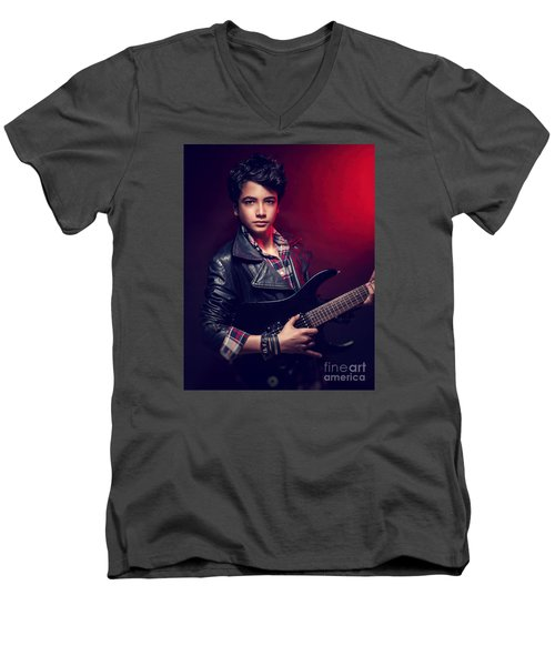 Handsome Guy With Guitar Men's V-Neck T-Shirt