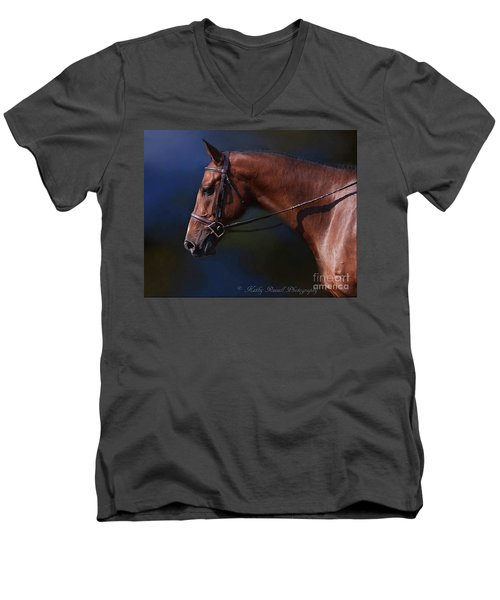 Handsome Profile Men's V-Neck T-Shirt by Kathy Russell