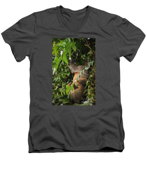 Hang On Mom Men's V-Neck T-Shirt by Pamela Blizzard