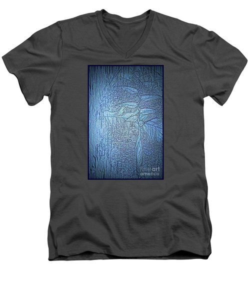 Men's V-Neck T-Shirt featuring the photograph Hanging In Blue by Pamela Blizzard