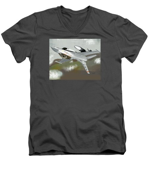 Men's V-Neck T-Shirt featuring the digital art Hanging In The Seat by Walter Chamberlain