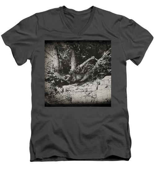 Men's V-Neck T-Shirt featuring the photograph Hanging On by Keith Elliott