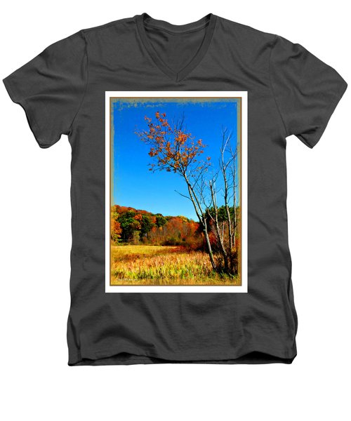 Men's V-Neck T-Shirt featuring the photograph Hanging On To Autumn by Joan  Minchak