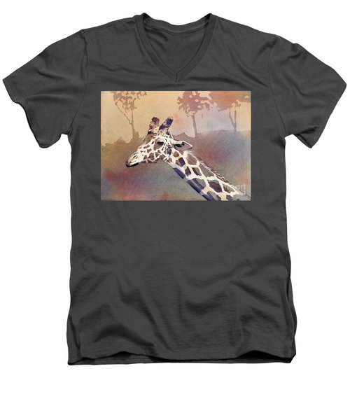 Men's V-Neck T-Shirt featuring the painting Hanging Out- Giraffe by Ryan Fox