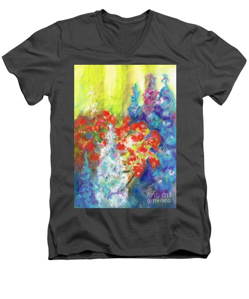 Hanging With The Delphiniums  Men's V-Neck T-Shirt by Frances Marino