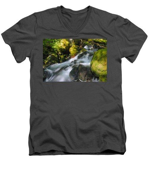 Hanson Falls Men's V-Neck T-Shirt by Larry Ricker