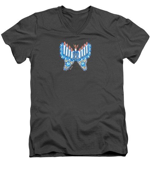 Hanukkah Butterfly Men's V-Neck T-Shirt