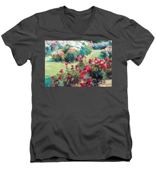 Men's V-Neck T-Shirt featuring the painting Happiness by Rosario Piazza