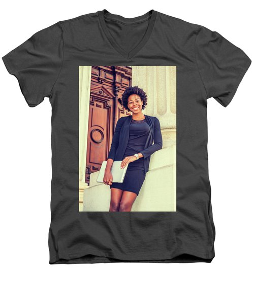 Happy African American College Student Men's V-Neck T-Shirt