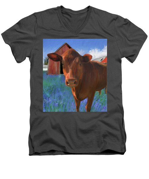 Happy Cow West Marin  Men's V-Neck T-Shirt by Julianne Ososke