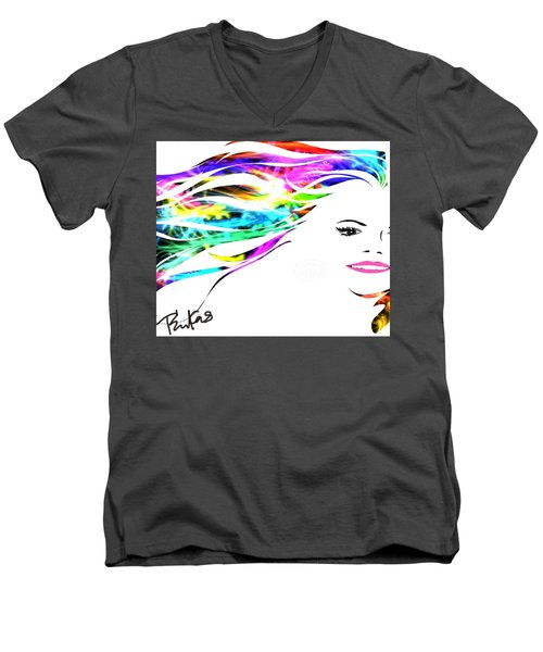 Men's V-Neck T-Shirt featuring the digital art Happy by Diana Riukas