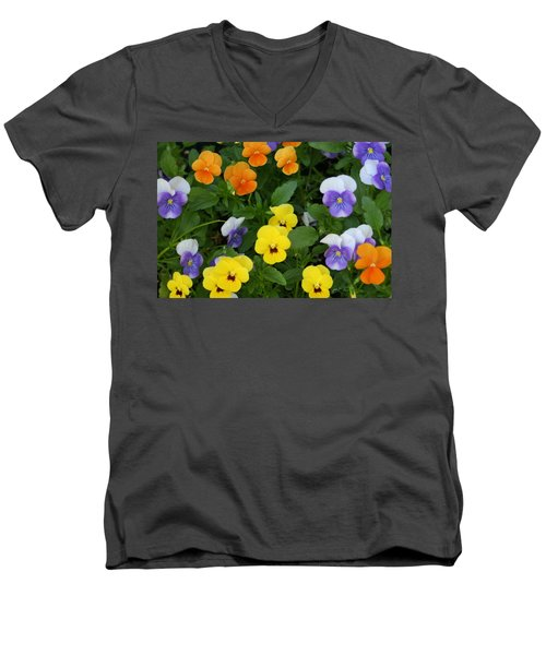 Men's V-Neck T-Shirt featuring the digital art Happy Faces by Barbara S Nickerson
