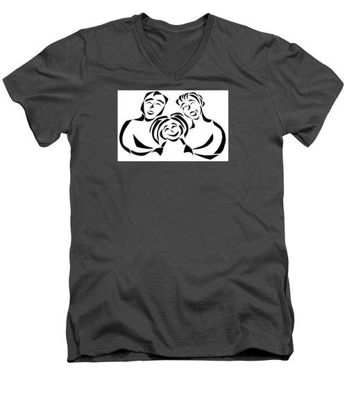 Happy Family Men's V-Neck T-Shirt by Delin Colon