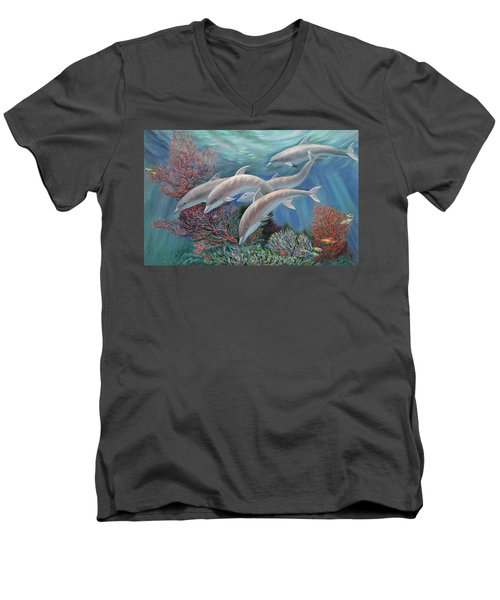 Happy Family - Dolphins Are Awesome Men's V-Neck T-Shirt