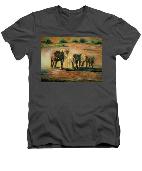 Happy Family Men's V-Neck T-Shirt by Khalid Saeed