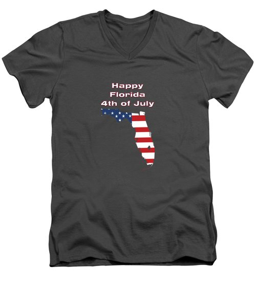 Happy Florida 4th Of July Men's V-Neck T-Shirt