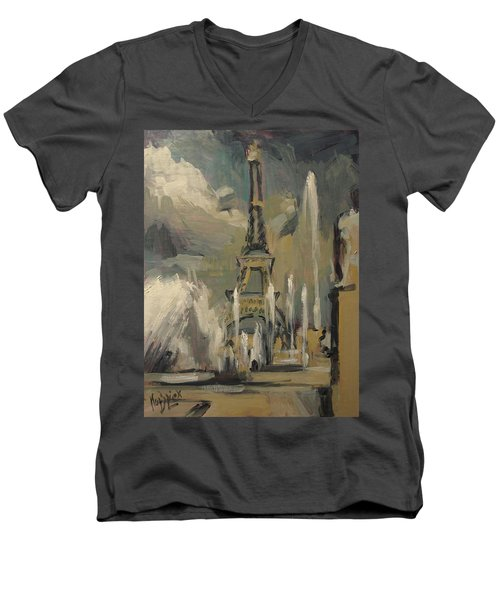 Happy Fountains At Trocadero Men's V-Neck T-Shirt