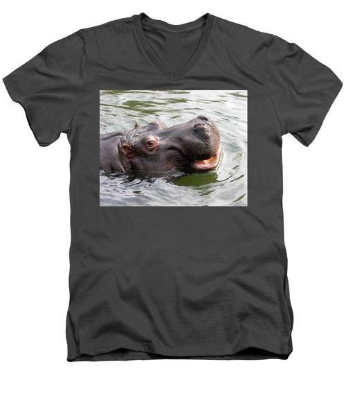 Happy Hippo Men's V-Neck T-Shirt