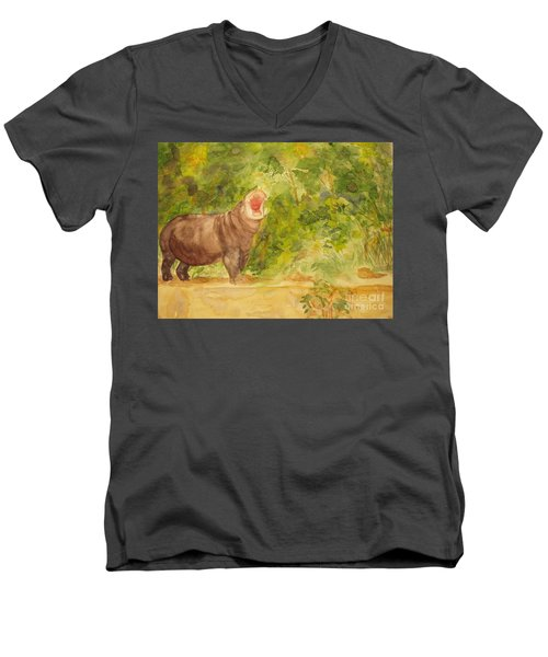 Men's V-Neck T-Shirt featuring the painting Happy Hippo by Vicki  Housel