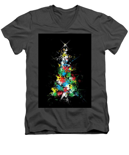 Happy Holidays - Abstract Tree - Vertical Men's V-Neck T-Shirt