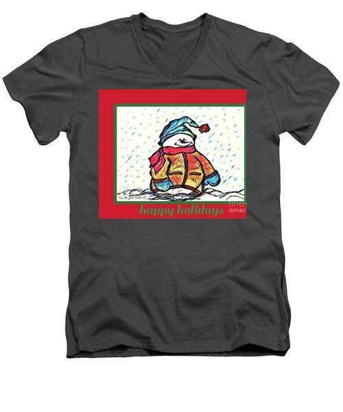 Happy Holidays Snowman Men's V-Neck T-Shirt by MaryLee Parker