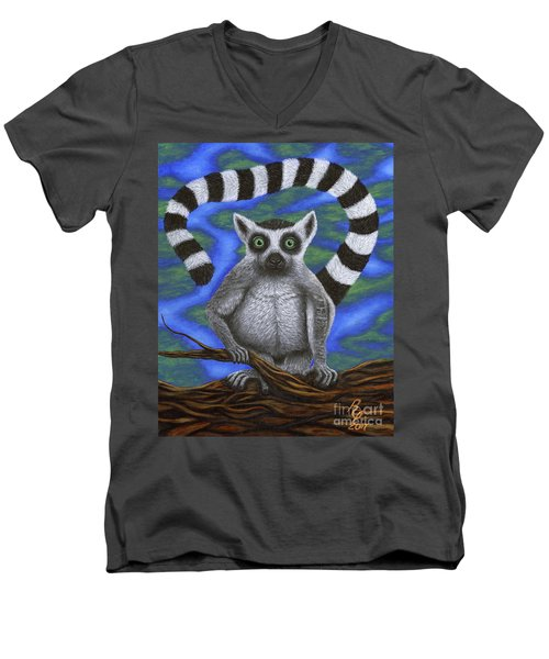 Happy Lemur Men's V-Neck T-Shirt