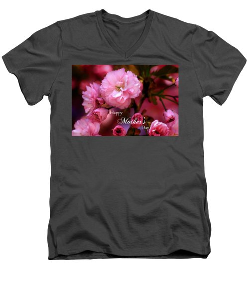 Men's V-Neck T-Shirt featuring the photograph Happy Mothers Day Spring Pink Cherry Blossoms by Shelley Neff