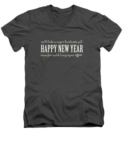 Men's V-Neck T-Shirt featuring the digital art Happy New Year Auld Lang Syne Lyrics by Heidi Hermes