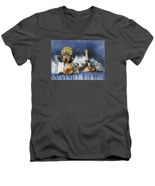 Men's V-Neck T-Shirt featuring the mixed media Happy New Year by Barbara Keith