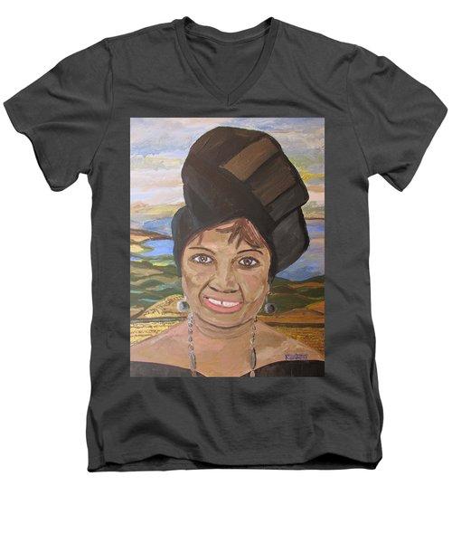 Happy Ramadan - Auntie Johnson Men's V-Neck T-Shirt by Mudiama Kammoh