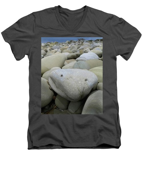Happy Rock Men's V-Neck T-Shirt by Joe  Palermo