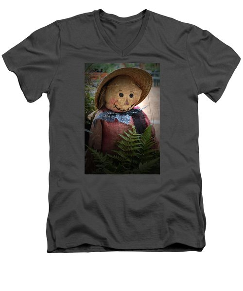 Men's V-Neck T-Shirt featuring the photograph Happy Scarecrow by Karen Harrison